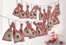 Adventskalender Weihnachten Kalender Advent mit rot/weiß karierten Stoffsäckchen