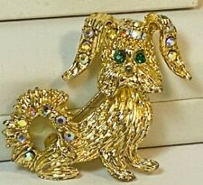Lhasa Apso Maltese Small Lap Dog Golden Dog Pin Ab & Emerald Green Rhinestones