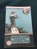 Rare 1923 Bausch & Lomb Stereo Prism Binoculars Brochure/Price List
