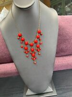 "Vintage Red Necklace Gold Bib  statement Round cabochons Lucite 16"" Long"
