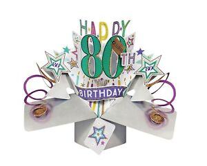 80th Birthday Card 3D Pop Up Card Male Dad Grandad Husband Gift Card