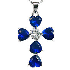 Xmas Gifts Heart Stone White Gold GP Rhinestone Crystal Cross Pendant Necklace