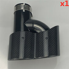 1x Right H Style 63mm 3D Gloss  Carbon Fiber Car 2 Exhaust Pipe Tail Muffler Tip