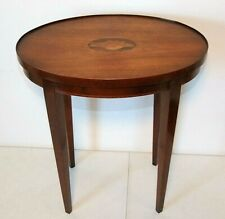 Antique Round Oval Side End Table with Sea Shell Inlay Top, 20.5