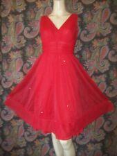 New listing Vintage Shadowline 1950's Red Rhinestone Nylon Tricot Chiffon Nighty Nightgown