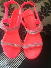 New Look Wide Fit Pink Size 5/ 38 Jewelled  Jelly Sandals/ Flip flops