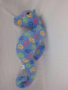 "Plush Stuffed Sea Horse by Fiesta 21"" Blue Pink Green Animal"