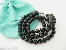 Tiffany & Co Silver Onyx Gemstone Ball Bead Double Strand Necklace Pendant Chain