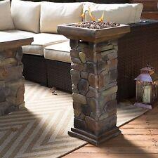 Outdoor Propane Fire Column Rustic Envirostone Rock Resin Heater Deck