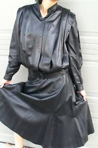 CARITTA BEVERLY HILLS  BLACK LEATHER SUIT - JACKET and SKIRT -  size 8