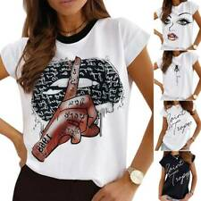 Women's Printed Short Sleeve T Shirt Casual Blouse Summer Ladies Girls Tee Tops