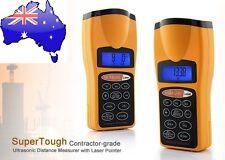 Ultrasonic Lcd Sonic Distance Tape Measurer Meter Laser Pointer Measure +Battery