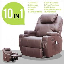 Electric Massage Chair Recliner Sofa Ergonomic Lounge Heated Swivel W/Control
