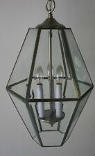 Indoor Pendant Lantern Lamp Light Fixture 3 Bulb Brushed Silver Metal & Glass