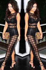 Abito lungo Nudo aderente trasparente coulotte See-through Grid Dress clubwear
