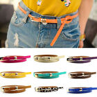 Fashion Colorful Women Lady Thin Skinny Leather Belt Metal Gold Buckle Waistband