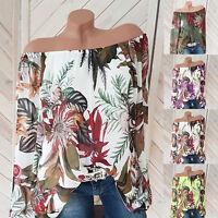 Plus Size Womens Long Sleeve Floral Print Off Shoulder Blouse Tops Loose Shirt