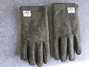 Harris Tweed and Leather Mens Gloves SIZE L/XL