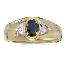 Mens Genuine Blue Sapphire and Diamond Ring 10K Yellow Gold
