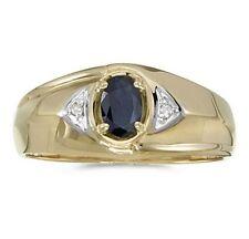 Mens Genuine Blue Sapphire and Diamond Ring 10K Yellow Gold