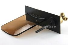 Oil Rubbed Bronze Wall Mount Glass Waterfall Faucet Bathroom Mixer Tap A110