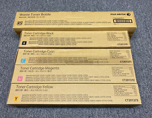 4 X GENUINE Fuji Xerox CT201370-3 Black Cyan Magenta Yellow SET Toner Cartridges
