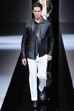 Emporio ARMANI Black Summer Leather Jacket Eu50 Medium Large Coat