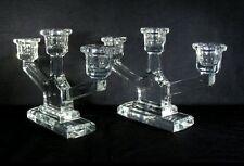 Val St Lambert 2 Kristallen Kandelaars – Paire de Chandeliers en Cristal