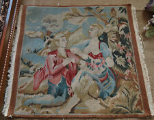 """19.5"""" Antique Aubusson Tapestry Canvas Lovers Old Shabby Vintage Rare"""