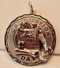 "1"" Purple Rhinestone Graduation Pendant Vintage Graduation Day Sterling Silver"