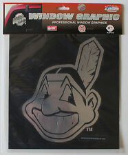 Lic. Sticker MLB Large Window Decal Cleveland Indians Chrome 'Chief Wahoo' Logo