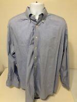 Tommy Hilfiger Men's Size XXL 18 36-37 Blue Striped TLC Dress Shirt Long Sleeve