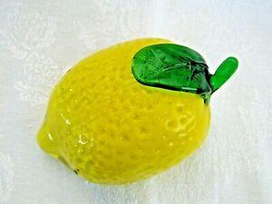 "Murano Style Studio Art Large 5.5"" Long Glass Lemon"