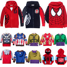 Kids Boys Girls Superhero Hoodie Jacket Captain America Iron Man Hulk Costume AU