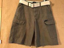 "Van's size 30"" inseam 10.5 zipper fly green cotton cargo shorts belt design"