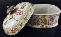 Bonbonnière ancienne faÏence porcelaine Japonaise craquelée- Décors oiseaux ...