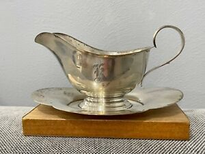 Vintage 1950's Gorham Sterling Silver Gravy Sauce Boat w/ Attached Underplate