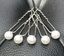 5 Bridal Wedding Prom White Pearl with Cristal Hair Pins Clips