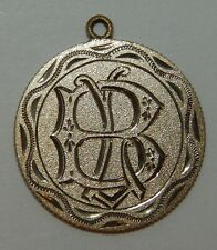 "Love Token / Pendant Engraved with Initials ""Lb"" on one side ""Hb"" on other -Dime"