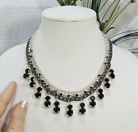Silver Tone and Black Crystal Dangles Edwardian Multi Strand Choker Necklace