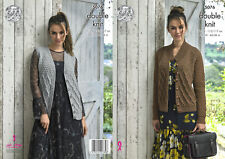 King Cole Ladies Double Knitting Pattern Cable Knit Waistcoat & Cardigan 5076
