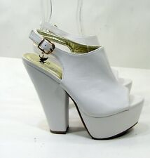 "NEW white 6""High  Block Heel Open Toe  slingback Sexy Shoes Women Size 7"