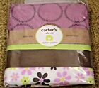 New Carter's ELEPHANT PATCHES Purple Brown Floral Circles Suede Window Valance