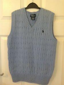 RALPH LAUREN boy's blue sleeveless jumper/tank top M 10/12/14 cable knit VGC