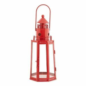 Gallery of Light Metal Lighthouse Candle Lantern-Red