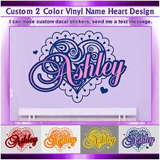 Heart Vinyl Wall Sticker Custom Name Colors Art Design Signs Mural Decal 066
