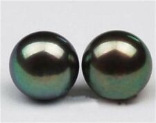 Genuine 12-13mm TAHITIAN Black Pearl Earring 14k White Gold PE51