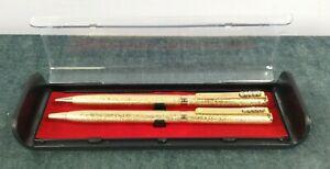 x2 Gold Colour With Rhinestone Clip Ballpoint & Pencil Pen In Box