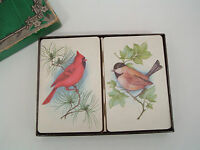 vintage double deck playing cards winter bird design swap cards