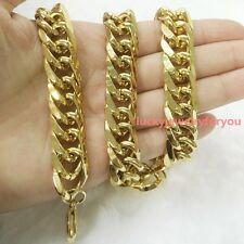 "Heavy 24"" 14mm Double Cuban Chain Stainless Steel Mens Fashion Necklace 18K Gold"
